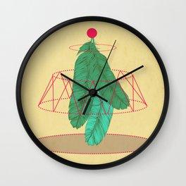 blugreenish circled feathers Wall Clock