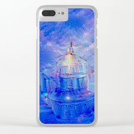 The Teapot Village - Blue Japanese Lighthouse Village Artwork Clear iPhone Case