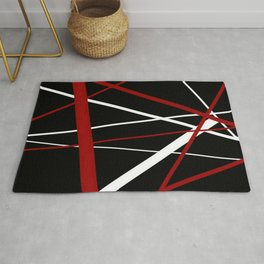 Red and White Stripes on A Black Background Rug