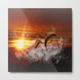 Dolphins In Clouds at Sunset Collage Metal Print