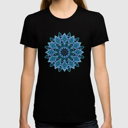 Blue and green Ikat inspired abstract mandala T-shirt