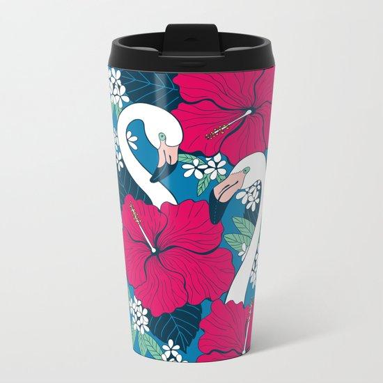 Flamingos and tropical flowers and leaves Metal Travel Mug