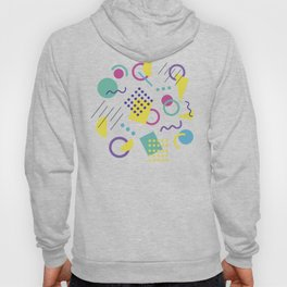 1980s Gnarly Retro Neon Geometric Abstract Pattern Shapes Hoody