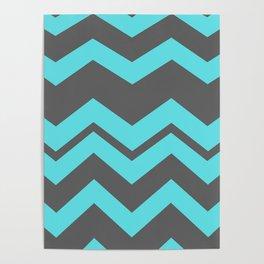 Chevron Pattern - Blue/ Smoke Gray Poster