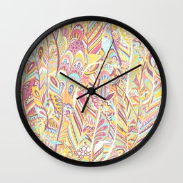Abstract pink yellow teal hand painted bohemian feathers Wall Clock