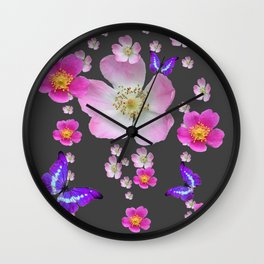 PURPLE BUTTERFLIES & PINK ROSES GREY MONTAGE Wall Clock