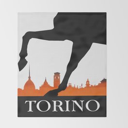 Vintage Torino or Turin Italy Travel Poster Throw Blanket