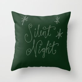 Merry Christmas - Silent Night - Typography and stars  on festive green Throw Pillow