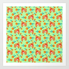 Little pretty swallows birds, bright lovely juicy ripe oranges vintage retro lime green pattern Art Print