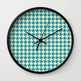 Houndstooth Azure Cream Pattern Wall Clock