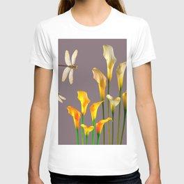 GOLD CALLA LILIES & DRAGONFLIES ON GREY T-shirt