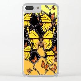 BLACK-GOLDEN YELLOW BUTTERFLIES ART Clear iPhone Case