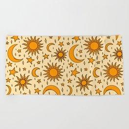 Vintage Sun and Star Print Beach Towel
