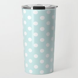 Small Polka Dots - White on Light Cyan Travel Mug