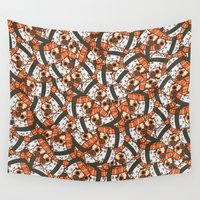 sushi Wall Tapestries featuring Puglie Salmon Sushi by Puglie Pug