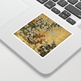 White Red Chrysanthemums Floral Japanese Gold Screen Sticker