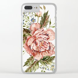 Pink Wild Rose Bouquet Clear iPhone Case