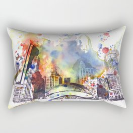 Chicago Bean Cityscape Watercolor Painting Rectangular Pillow