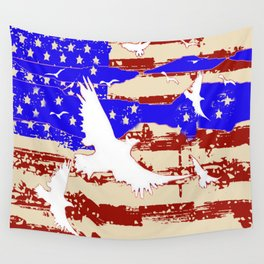 RED-WHITE-BLUE EAGLES & PATRIOTISM FLAG Wall Tapestry