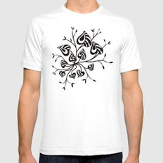 Abstract Floral With Pointy Leaves In Black And Greenery SMALL Mens Fitted Tee White