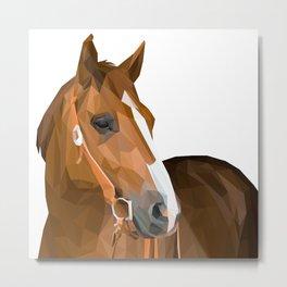 Brown Horse Lowpoly Art Illustration Metal Print