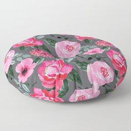 Pink Watercolor Peonies Floor Pillow