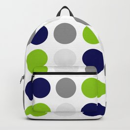 Lime Green, Bright Navy Blue, and Gray Multi Dots Minimalist Pattern on White Backpack