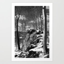A vertical version of the rocks and trees Art Print