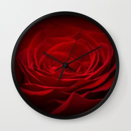 Deep Red Blood Rose On Black Wall Clock