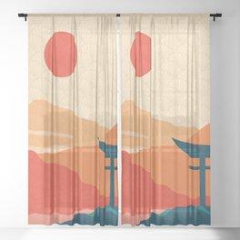Japanese Abstract Art XVI Sheer Curtain