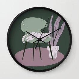 Grey Green Laziness Wall Clock