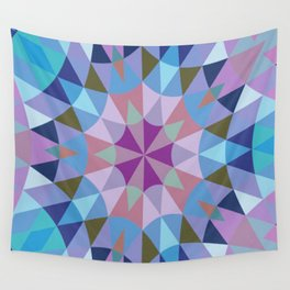 Retro Geometry Mandala Lavender Blue Wall Tapestry