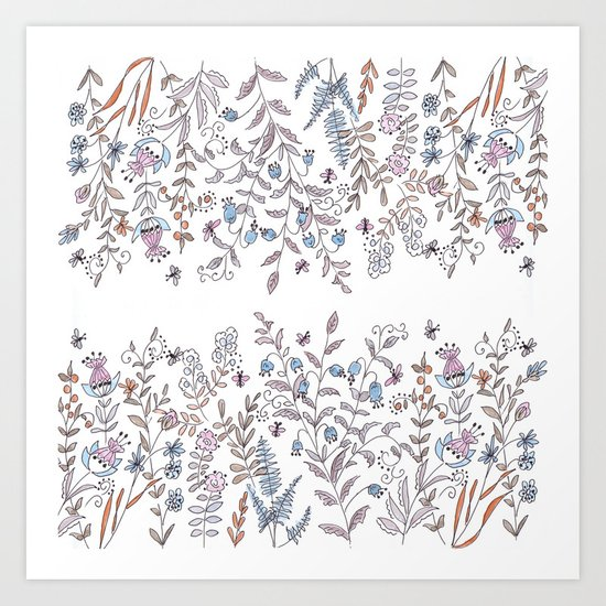Watercolor pattern . The flowers of the field . Art Print