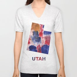 Utah map outline Red blue brown watercolor painting Unisex V-Neck