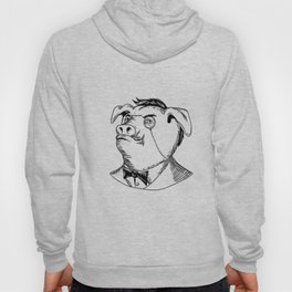 Aristocratic Pig Monocle Black and White Drawing Hoody