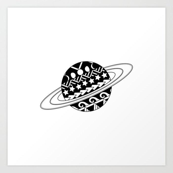 Tribal Planet Tattoo Art Print By Njmoxon