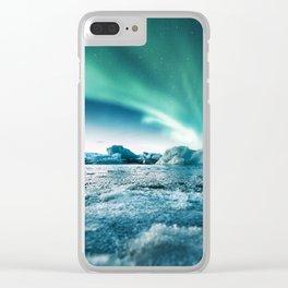 aurora borealis at jakursarlon Clear iPhone Case