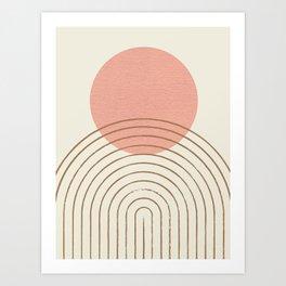 Pink Sun Mid-Century Full Art Print