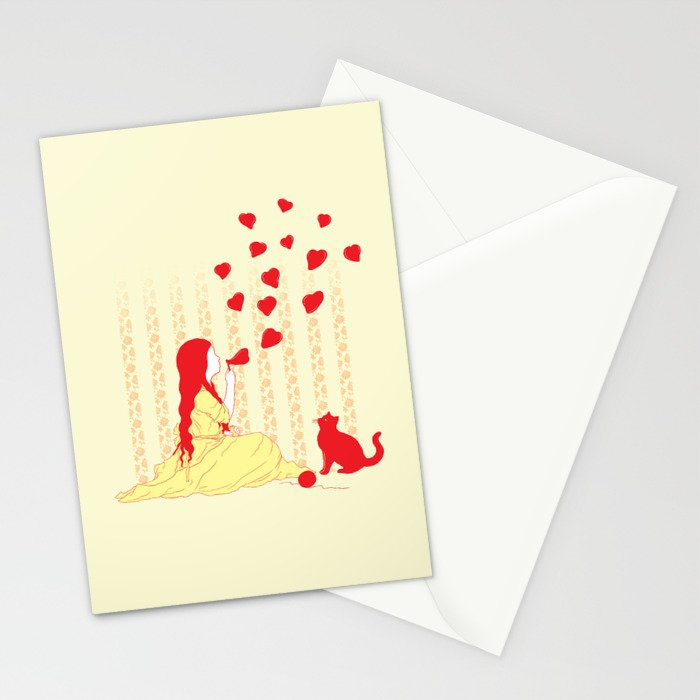 Bubbly Hearts Stationery Cards