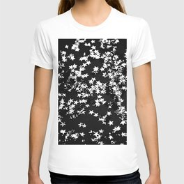 Black Night Glitter Stars #1 #shiny #decor #art #society6 T-shirt