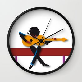 """Guitarist"" by Paulette Lust contemporary, original, colorful, whimsical, art. Wall Clock"