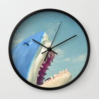 shark Wall Clocks featuring Shark! by Cassia Beck