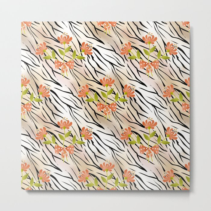 Floral pattern on a tiger background . Metal Print