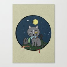 Cats love zombie meat! Canvas Print