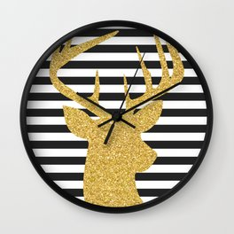 Gold Deer Black and White Stripes Wall Clock