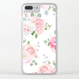 Pink Green Floral Print Clear iPhone Case