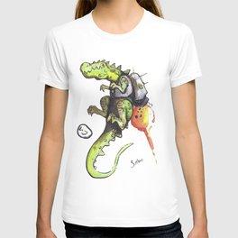 Dinosaur wearing Jetpack T-shirt