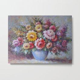 Flower Study - Flowers in a Blue Vase Metal Print