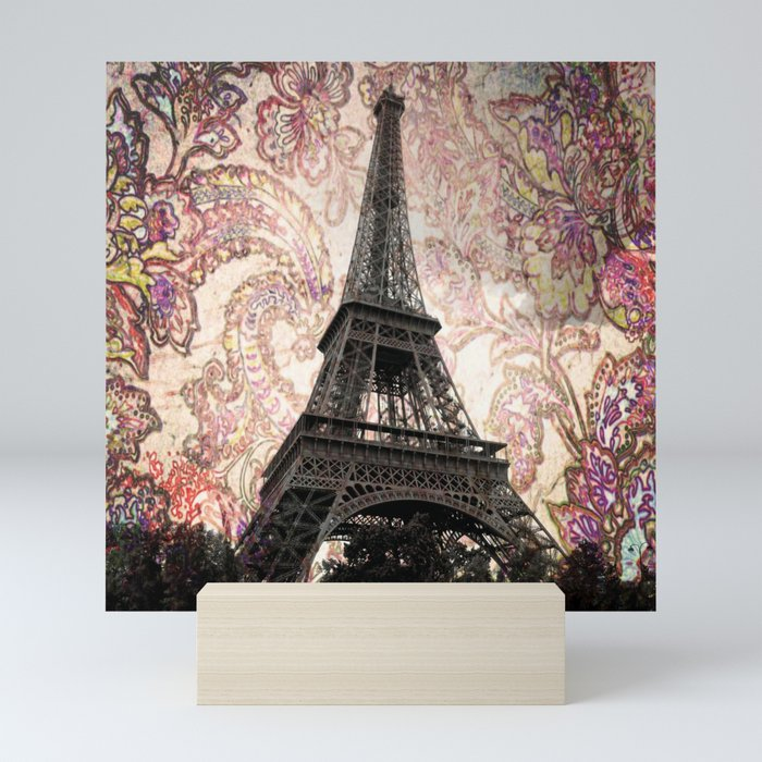Floral Eiffel Tower in Paris, France Mini Art Print