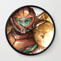 samus Wall Clocks featuring Samus by Alonzo Canto